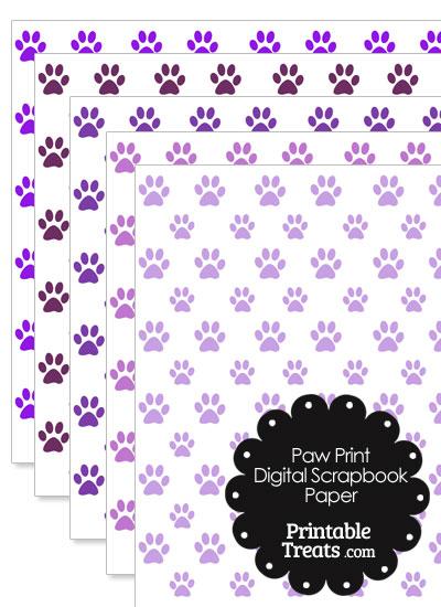 Purple Paw Print Digital Scrapbook Paper from PrintableTreats.com