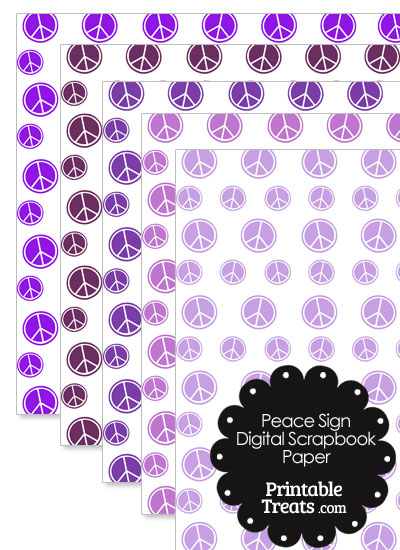 Purple Peace Sign Digital Scrapbook Paper from PrintableTreats.com