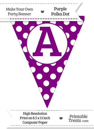 Purple Polka Dot Pennant Flag Capital Letter A from PrintableTreats.com