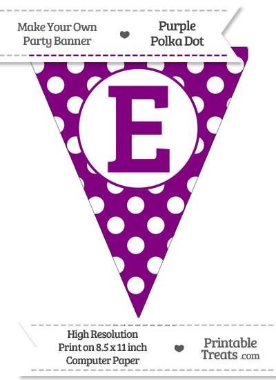 Purple Polka Dot Pennant Flag Capital Letter E from PrintableTreats.com