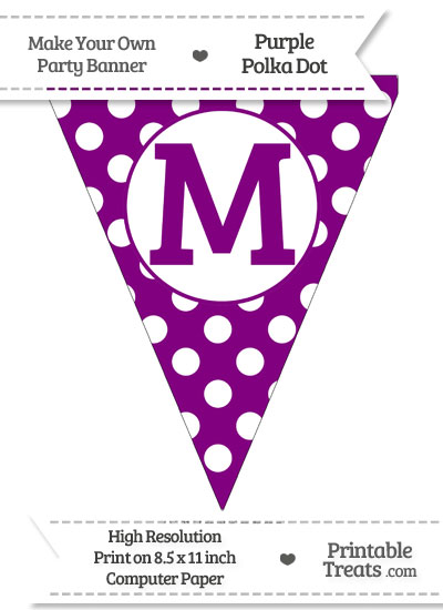Purple Polka Dot Pennant Flag Capital Letter M from PrintableTreats.com