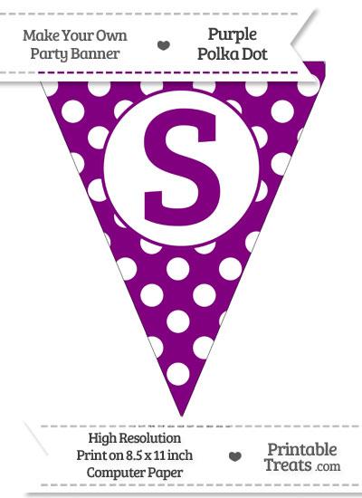 Purple Polka Dot Pennant Flag Capital Letter S from PrintableTreats.com