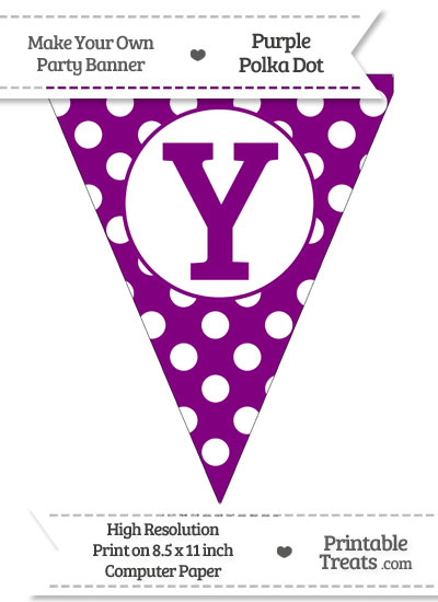 Purple Polka Dot Pennant Flag Capital Letter Y from PrintableTreats.com