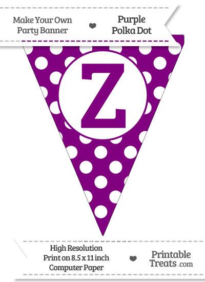 Purple Polka Dot Pennant Flag Capital Letter Z from PrintableTreats.com