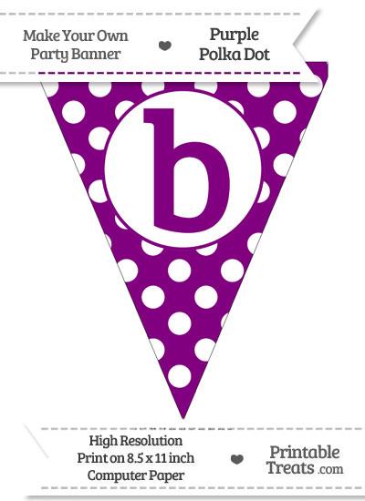 Purple Polka Dot Pennant Flag Lowercase Letter B from PrintableTreats.com