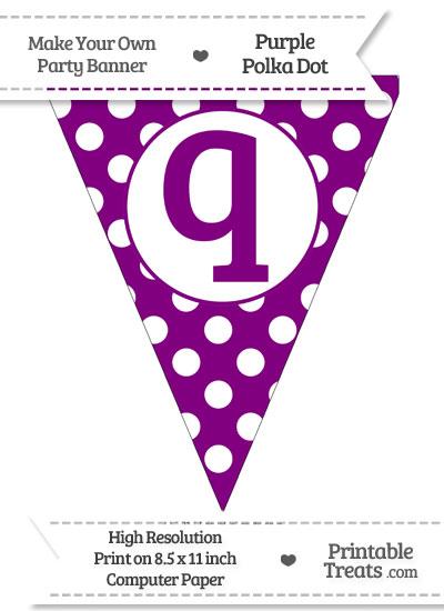 Purple Polka Dot Pennant Flag Lowercase Letter Q from PrintableTreats.com