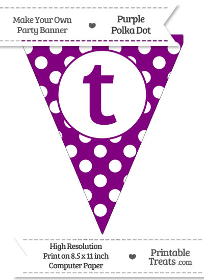 Purple Polka Dot Pennant Flag Lowercase Letter T from PrintableTreats.com