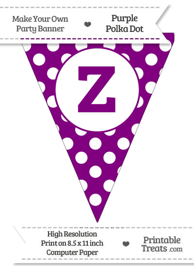 Purple Polka Dot Pennant Flag Lowercase Letter Z from PrintableTreats.com