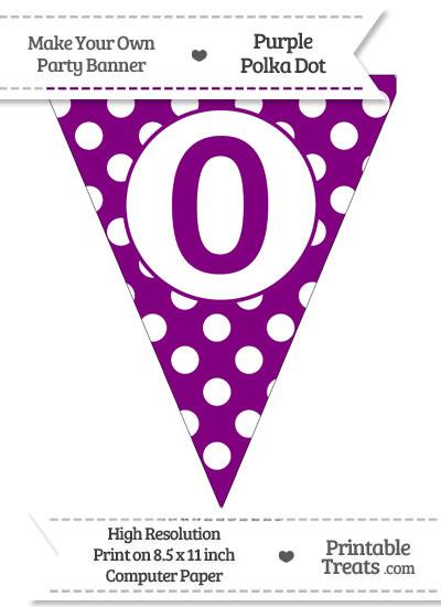 Purple Polka Dot Pennant Flag Number 0 from PrintableTreats.com