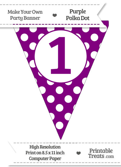 Purple Polka Dot Pennant Flag Number 1 from PrintableTreats.com