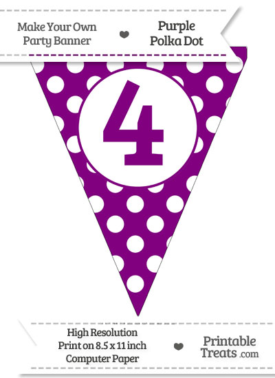 Purple Polka Dot Pennant Flag Number 4 from PrintableTreats.com