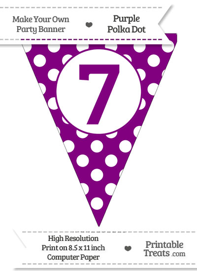 Purple Polka Dot Pennant Flag Number 7 from PrintableTreats.com