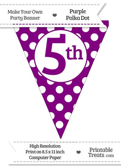 Purple Polka Dot Pennant Flag Ordinal Number 5th from PrintableTreats.com