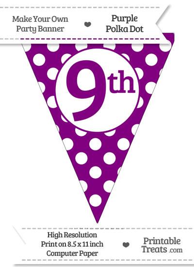 Purple Polka Dot Pennant Flag Ordinal Number 9th from PrintableTreats.com