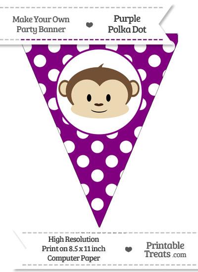 Purple Polka Dot Pennant Flag with Boy Monkey from PrintableTreats.com