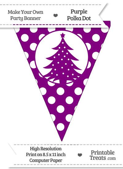 Purple Polka Dot Pennant Flag with Christmas Tree from PrintableTreats.com