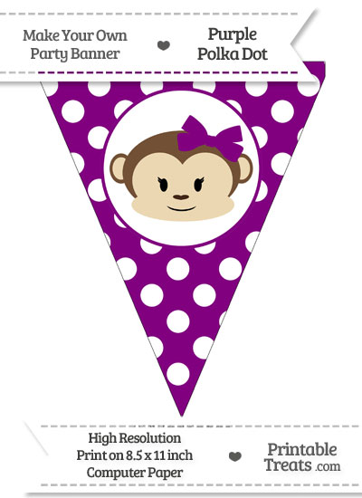 Purple Polka Dot Pennant Flag with Girl Monkey from PrintableTreats.com