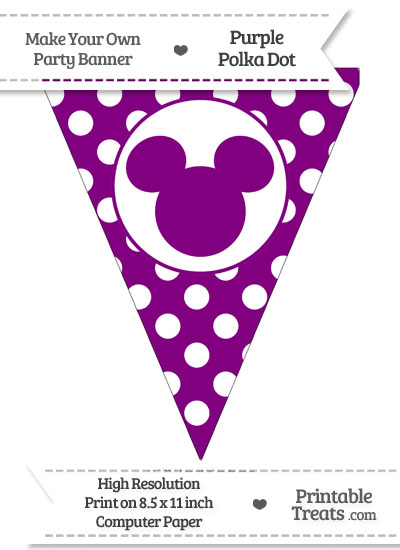 Purple Polka Dot Pennant Flag with Mickey Mouse from PrintableTreats.com
