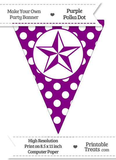 Purple Polka Dot Pennant Flag with Nautical Star from PrintableTreats.com