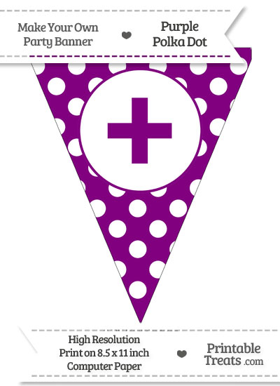 Purple Polka Dot Pennant Flag with Plus Sign from PrintableTreats.com