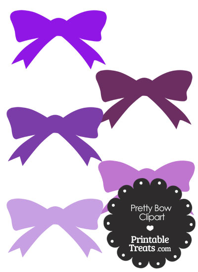 Purple Pretty Bow Clipart from PrintableTreats.com