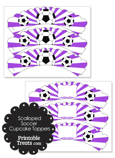 Purple Scalloped Sunburst Soccer Cupcake Wrappers from PrintableTreats.com