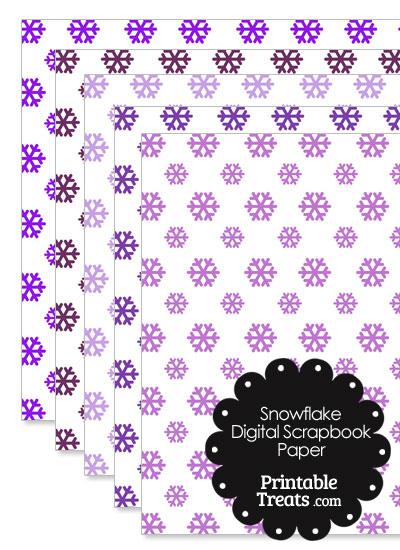Purple Snowflake Digital Scrapbook Paper from PrintableTreats.com