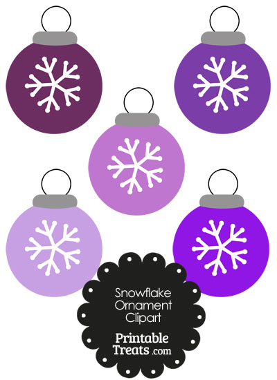 Purple Snowflake Ornament Clipart from PrintableTreats.com