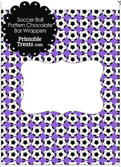 Purple Soccer Ball Pattern Chocolate Bar Wrappers from PrintableTreats.com