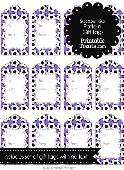 Purple Soccer Ball Pattern Gift Tags from PrintableTreats.com
