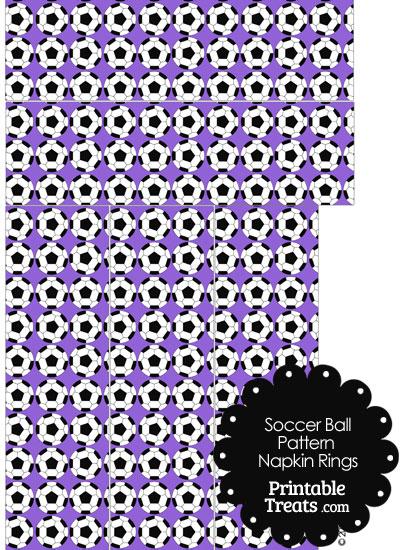 Purple Soccer Ball Pattern Napkin Rings from PrintableTreats.com