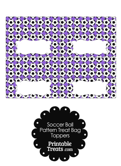 Purple Soccer Ball Pattern Treat Bag Toppers from PrintableTreats.com