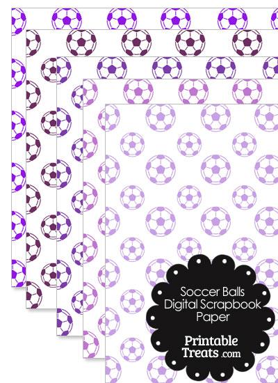 Purple Soccer Digital Scrapbook Paper from PrintableTreats.com