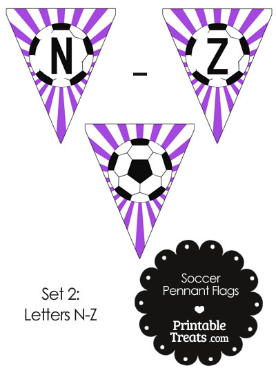 Purple Soccer Party Flag Letters N-Z from PrintableTreats.com