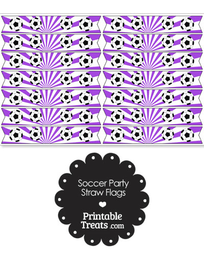 Purple Soccer Party Straw Flags from PrintableTreats.com