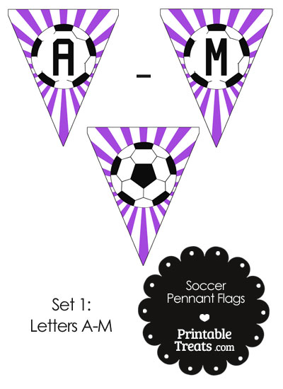 Purple Soccer Pennant Banner Flag Letters A-M from PrintableTreats.com
