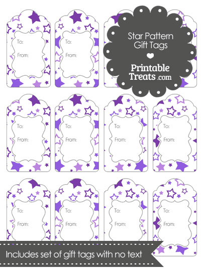 Purple Star Pattern Gift Tags from PrintableTreats.com