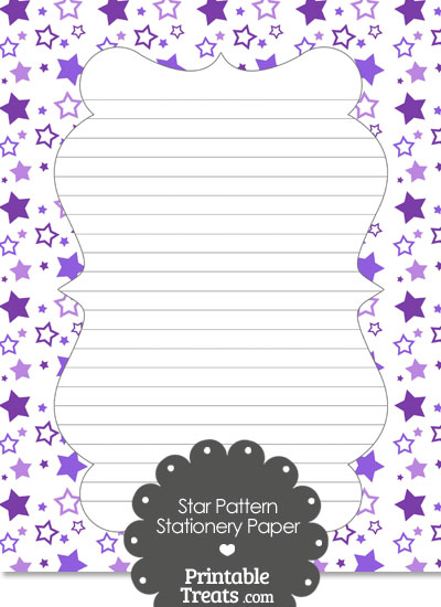 Purple Star Pattern Stationery Paper from PrintableTreats.com