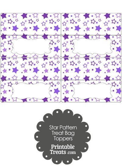 Purple Star Pattern Treat Bag Toppers from PrintableTreats.com