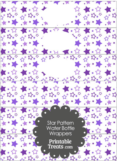 Purple Star Pattern Water Bottle Wrappers from PrintableTreats.com