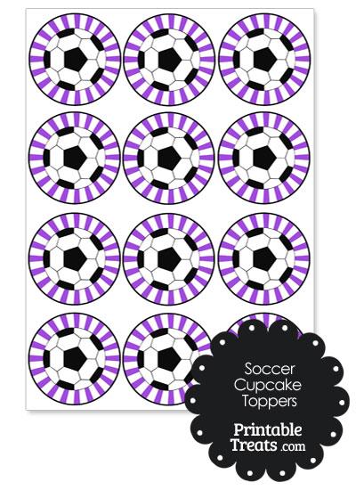 Purple Sunburst Soccer Cupcake Toppers from PrintableTreats.com
