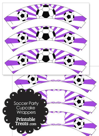 Purple Sunburst Soccer Cupcake Wrappers from PrintableTreats.com