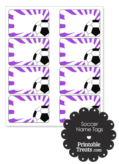 Purple Sunburst Soccer Name Tags from PrintableTreats.com