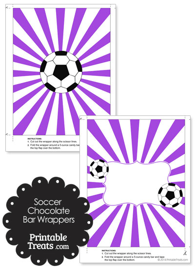 Purple Sunburst Soccer Party Candy Wrappers from PrintableTreats.com