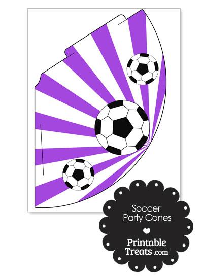 Purple Sunburst Soccer Party Cones from PrintableTreats.com