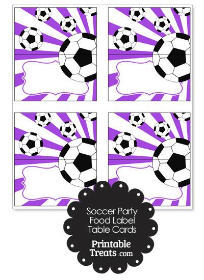 Purple Sunburst Soccer Party Food Labels from PrintableTreats.com