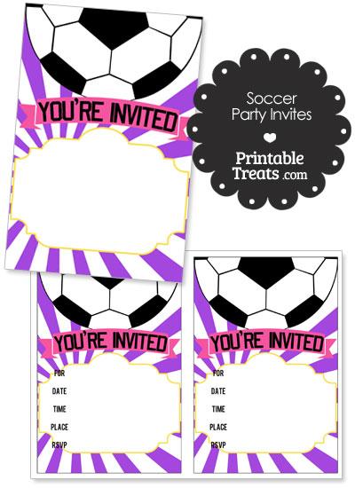 Purple Sunburst Soccer Party Invites from PrintableTreats.com