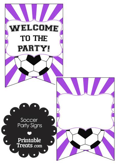 Purple Sunburst Soccer Party Signs from PrintableTreats.com