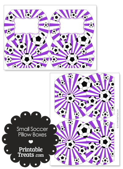 Purple Sunburst Soccer Party Small Pillow Boxes from PrintableTreats.com