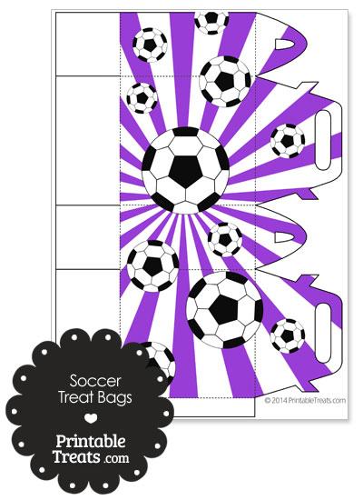 Purple Sunburst Soccer Party Treat Bags from PrintableTreats.com